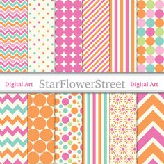 Orange Pink Digital Paper Printable Scrapbook Background - turquoise girl photography DIY birthday party baby wedding shower 8.5x11 instant