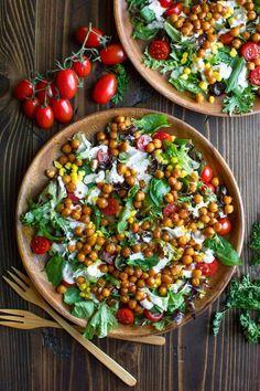 BBQ Chickpea Salad - Vegetarian + Vegan - Peas and Crayons #Chickpea #garbanzobeans #garbanzos #chickpeas #cook #dinner #vegan #veganrecipes #veganfood #healthylifestyle #healthy #healthyfood #nutrition Chickpea Salad Sandwich, Chickpea Salad Recipes, Cooking Garbanzo Beans, Spring Mix Salad, Vegetarian Barbecue, Homemade Bbq, Side Salad, Crayons, Healthy Eating