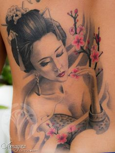 Geisha Tattoo - 50 Beautiful Geisha Tattoos - #funny #gifs #viralvids #funnypics #cute more at: http://www.theviralmonster.com