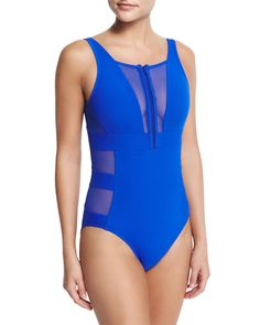 Aspire Zip-Front Mesh One-Piece Swimsuit, Oceanic - JETS by Jessika Allen