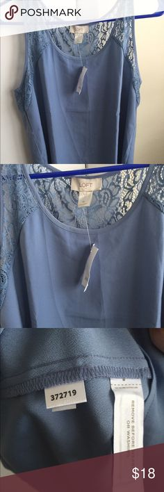 BNWT Ann Taylor loft lace back tank BNWT Ann Taylor loft size M baby blue lace trim tank! Great for summer! Material tag shown - Home sensor still attached as it's brand new never worn. Ann Taylor Tops Tank Tops