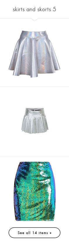 """""""skirts and skorts 5"""" by jennziegirl ❤ liked on Polyvore featuring skirts, bottoms, metallic, silver pleated skirt, knee length pleated skirt, pleated skirt, silver skirt, mini skirts, sequin mini skirt and sequin skirts"""