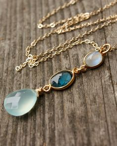 Rainbow Moonstone, Blue Topaz, and Aqua Chalcedony Necklace - 14KT Gold Fill - Shades of Blue