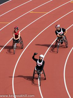 ˚Canada's Brent Lakatos celebrates a new world record in the T53 100m, London Paralympic Anniversary Games, Olympic Stadium