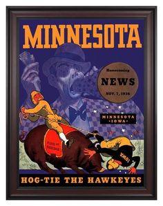 1936 Minnesota Golden Gophers vs Iowa Hawkeyes 30 x 40 Framed Canvas Historic Football Poster