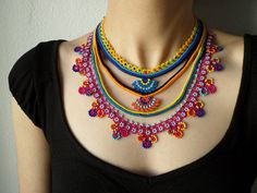 Beaded lace necklace -  crocheted with yellow, orange, magenta pink, indigo and turquoise blue beads