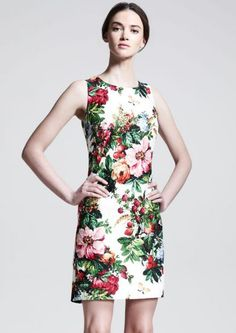 White Round Neck Sleeveless Floral Print Shift Dress pictures