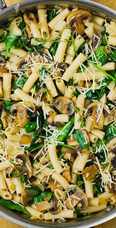 Pasta with Mushrooms and Spinach - low in calories and low in fat ...
