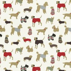 Animal Print Fabric Featuring Dog Breeds with Red Accents by Carousel Designs.