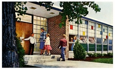 Colorful late 1950s school windows that hinted at the Mod design of the 60s that was to come.