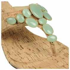 Touch of Nina Women's Norita 1 cork sandal with mint detail. #mintcondition