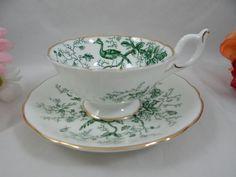 "1950s Vintage Coalport English Bone China ""Cairo"" Green Teacup and Saucer - Stunning"