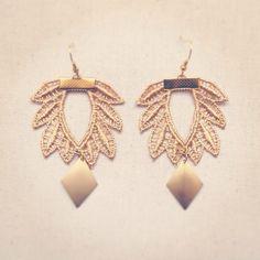 EARRINGS // Burgolo // Handmade Statement Lace Earrings - Yellow Golden - Flower Floral Gold Golden Glittering Geometric Tribal