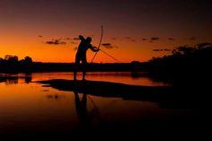 Indian fishing, Araguaia River, Brazil