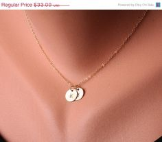 ON SALE Personalized,TWO Initial Necklace,Gold Filled, Family, Couple,Birthday,Best Friend, Kid, Sisterhood, Mother's Jewelry