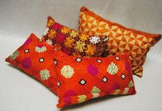 Custom phulkari Bagh pillows from Punjab, India hand embroidered wedding shawls. Maison Suzanne Gallery
