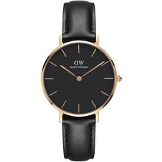 Daniel Wellington 32mm Classic Petite Sheffield Watch (51 KWD) ❤ liked on Polyvore featuring jewelry, watches, rose gold, logo watches, stainless steel jewelry, petite watches, black dial watches and golden watches #GoldJewelleryDanielWellington