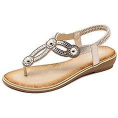 73eee3772ebf Meeshine Womens Summer Thong Flat Sandals T-Strap Bohemian Rhinestone Slip  On Flip Flops Shoes