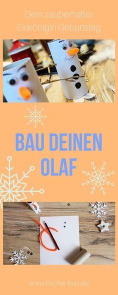Tischdeko für den Eiskönigin Geburtstag ist schnell gebastelt. Dieser Olaf verzaubert Kinderaugen und ist in wenigen Schritten fertig. Die se Bastelanleitung für Olaf und viele andere tolle Ideen findest du auf www.frecher-fratz.de!