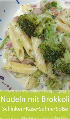 Rezept für Nudeln mit Brokkoli in leckerer Schinken-Käse-Sahne-Sauce. Das schmeckt auch den Kids. Diesmal mit Schmelzkäse zubereitet. Ideal zum Mittagessen, aber auch als Abendessen oder Familiegericht interessant. #brokkoli #pasta #nudeln