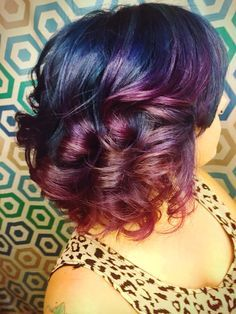 Short curly blue to purple color melt using Pravana vivids hair color. Galaxy hair.  Hair done by Mindy Hardy Heath Salon and Spa  Heath, Texas 972-771-0688 Rockwall Dallas Texas