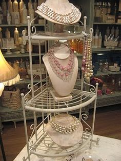 A corner display used in a display booth  --Pinned by WhatnotGems.Etsy.com
