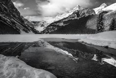 lake louise black and white - Lake Louise is one of my favourite spots in the Canadian Rockies. in winter its especially wonderful if you don't mind the cold. I had to wait about an hour for the the fog to mostly blow out but it was worth it. White Lake, Canadian Rockies, Cool Landscapes, Cold, Mountains, Black And White, Nice, Winter, Winter Time