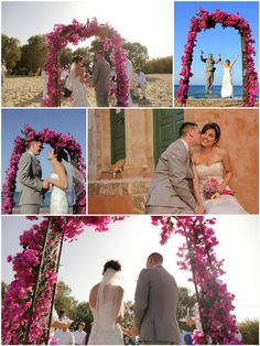 Fuchsia bougainvillea themed beach wedding in Chania area .Link in description. Bougainvillea, Crete, Real Weddings, Wedding Planner, Link, Beach, Image, Wedding Planer, The Beach