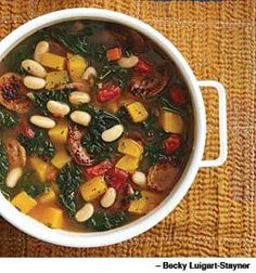 Kale, Sausage, and White Bean Soup- I'm sure this is like the third recipe I have pinned for this soup but YUM....