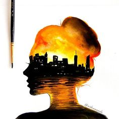 Amazing double exposure x cityscape by Aishaaaaah . - Art 🎨 kunst, Amazing double exposure x cityscape by Aishaaaaah . Beautiful Drawings, Cute Drawings, Disney Drawings, Music Drawings, Drawing Disney, Amazing Drawings, Galaxy Art, Doodle Art, Painting & Drawing