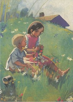 Martta Wendelin was a Finnish artist whose work was widely used to illustrate fairy tales and books, postcards, school books, magazine and book covers. Art And Illustration, Illustrations Posters, Vintage Posters, Vintage Art, Girl Face Drawing, Christian Art, Pictures To Draw, Cool Artwork, Cute Art