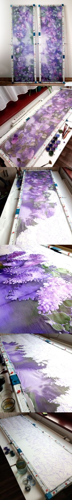 #lilac #silk #scarf hand painted by #Malinowska #minkulul with silk paints.