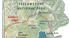 A map of Yellowstone National Park, Wyoming, shows the outline of the caldera of the massive Yellowstone supervolcano. The Yellowstone supervolcano last erupted about 640,000 years ago.