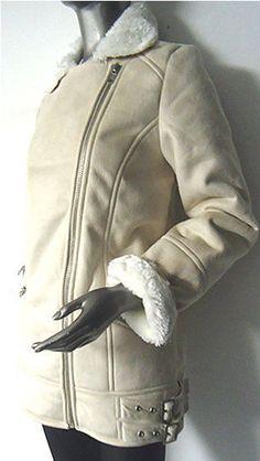 Miss Selfridge Beige Cream Suede Fur Lined Biker Coat Jacket NEW 4 to 16 RRP £89