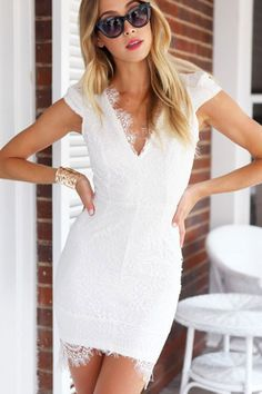 Luxury Appearance With Precious Scalloped White Trim Lace V Neck Mini Dress