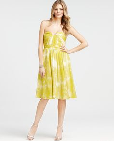 Ann Taylor - AT Bridesmaid Dresses - Silk Butterfly Whispers Print Strapless Bridesmaid Dress