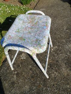 Recovered stool using old maps  #HomeDecor #Stools