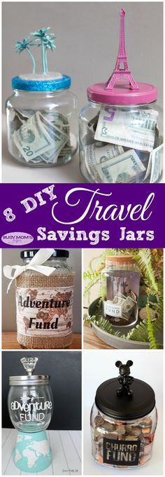 8 DIY Travel Savings Jars – Finance tips, saving money, budgeting planner Diy Craft Projects, Diy Crafts, Change Jar, Savings Jar, Travel Crafts, Hacks Diy, Diy For Kids, Adulting, Illustration