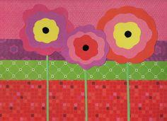 "Handmade Original Paper Collage - 9"" x 12"" - Flowers - Collage 2016-7"