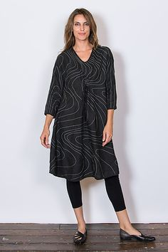Swerve Stitch Dress in Black by Cynthia Ashby: Limited Edition Linen Dress available at www.artfulhome.com