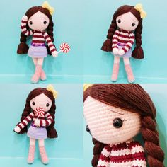 Crochet girl doll with lolly pop. Cute. (Inspiration).