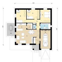 97 m2 + garázs (Bruttó 18.590.000 Ft) | Koncz Bau 18th, Floor Plans, Floor Plan Drawing, House Floor Plans