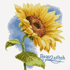 Sunflower, cross stitch, Free, Free cross stitch pattern, yellow flower,