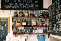 jars and chalk boards
