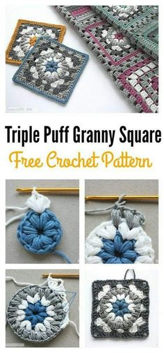Crochet Granny Square Patterns Triple Puff Granny Square Motif Free Crochet Pattern - The Puff Stitch is family of the Bobble Stitch and the popcorn Stitch. Here are some beautiful Puff Stitch Patterns you can use to create awesome items. Motifs Granny Square, Crochet Motifs, Crochet Blocks, Granny Square Crochet Pattern, Crochet Squares, Crochet Stitches, Blanket Crochet, Crochet Cushions, Crochet Pillow
