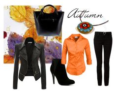 A fashion look from October 2015 featuring orange top, real leather jacket and skinny jeans. Browse and shop related looks. Leather Jacket, Fashion Looks, Skinny Jeans, Autumn, Shoe Bag, Aldo, Real Leather, Alexander Wang, Polyvore