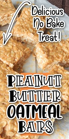 No Bake Peanut Butter Oatmeal Bars These peanut butter oatmeal bars are so delicious, and SUPER easy to make! They are the perfect snack, chewy, sweet, soft and filling! Peanut Butter Oatmeal Bars, Chocolate Oatmeal Cookies, Oatmeal Cookie Recipes, Delicious Cookie Recipes, Best Dessert Recipes, Fun Desserts, Baking Recipes, Bar Recipes, Copycat Recipes