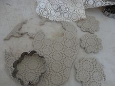 clay christmas ornaments and other projects - gently use rolling pin to make impression of doily or whatever you think would make a nice impression.  CUTE!