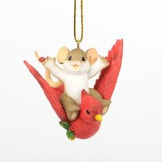 New in Box Charming Tails Holiday Traveler Hanging Ornament Enesco
