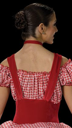 """TWO IN ONE BODICE: Fire engine red stretch velvet with red and white checkered cotton TRIM: White satin ribbon CHOKER INCLUDED FREE SKIRT: (Removable) White tricot and red and white checkered cotton TRIM: Red ribbon and flowers SIZES: Child: S-M-L-XL, Adult: S-M-L-XL-XXL-XXXL FOR """"DIAMOND"""" EARRINGS SEE ACCESSORIES Imported"""